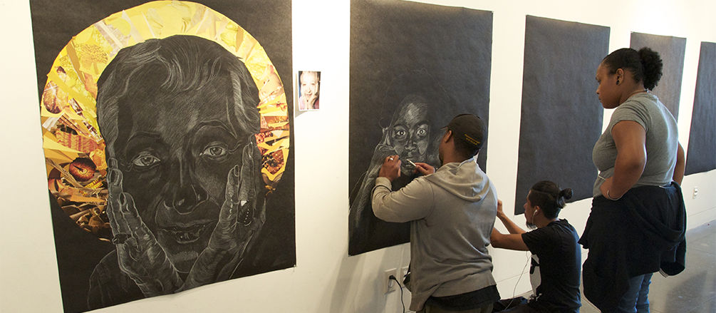 Professional Artist Titus Kaphar Works With Students During The Art And Social Justice Institute At the Euphrat Museum Of Art.