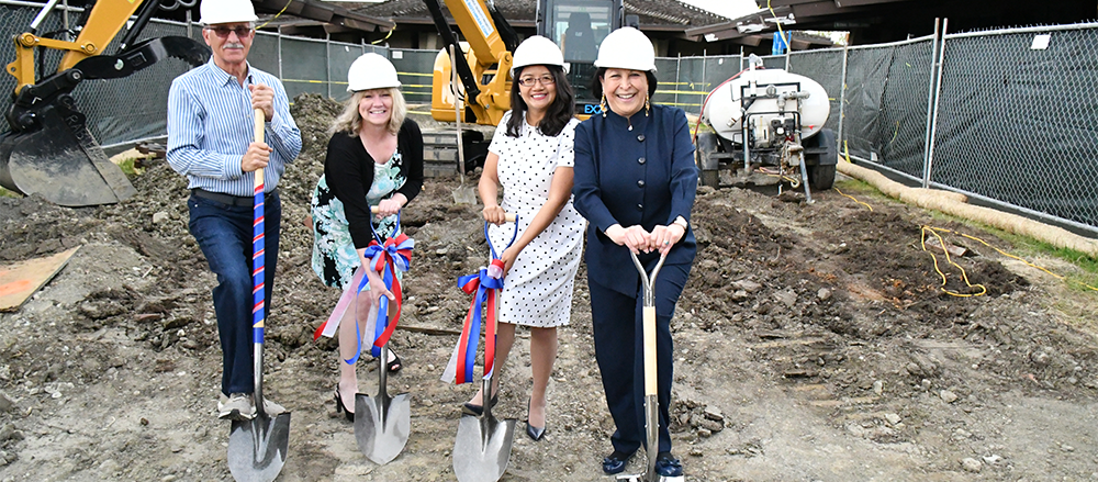 broke ground in April and is scheduled to be completed in July. The plaza will provide an inviting space for student veterans and students with disabilities to gather.