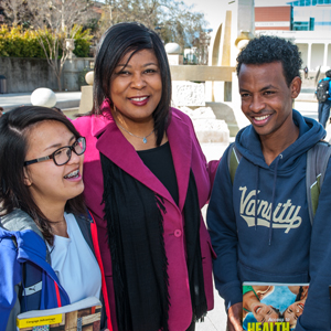 Dean Michele LeBleu-Burns with De Anza EOPS students