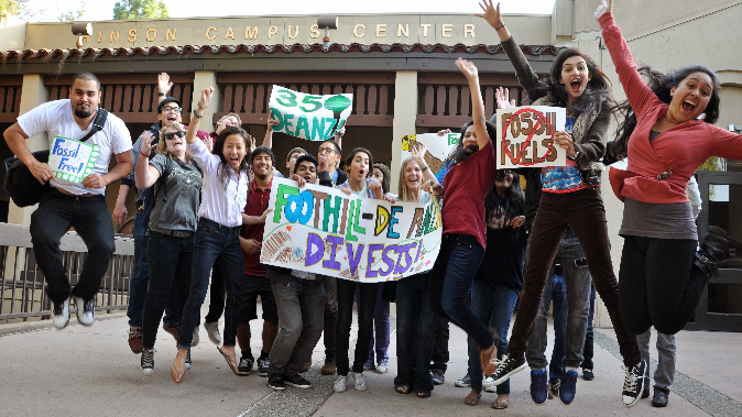 De Anza students showing their support at the October 2013 Foundation Board meeting where the board voted to divest from fossil fuel companies.