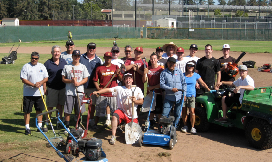 volunteers helping baseball project